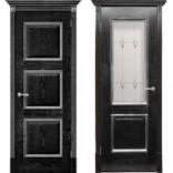 дверь Триест Черный абрикос с серебром фабрика Халес
