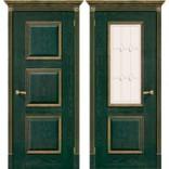 дверь Триест зеленый с золотом фабрики Халес